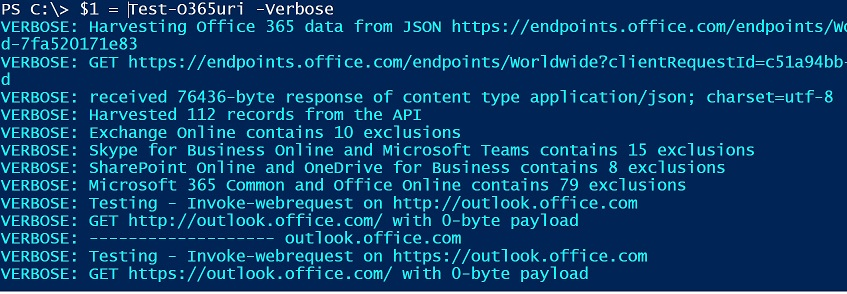 Validate Office 365 client or server connectivity by scanning the endpoints as released on the JSON API